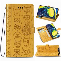 Embossing Dog Paw Kitten and Puppy Leather Wallet Case for Samsung Galaxy A80 A90 - Yellow