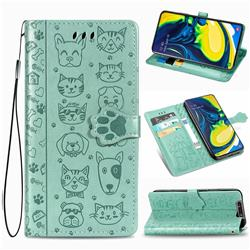 Embossing Dog Paw Kitten and Puppy Leather Wallet Case for Samsung Galaxy A80 A90 - Green