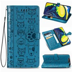 Embossing Dog Paw Kitten and Puppy Leather Wallet Case for Samsung Galaxy A80 A90 - Blue