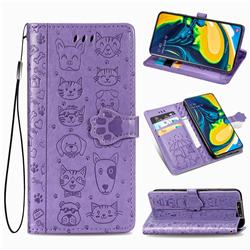 Embossing Dog Paw Kitten and Puppy Leather Wallet Case for Samsung Galaxy A80 A90 - Purple