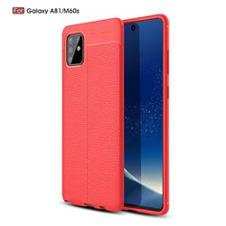 Luxury Auto Focus Litchi Texture Silicone TPU Back Cover for Samsung Galaxy A81 - Red