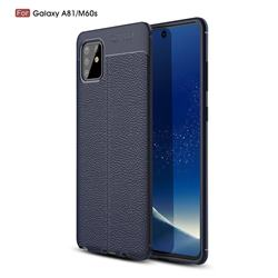 Luxury Auto Focus Litchi Texture Silicone TPU Back Cover for Samsung Galaxy A81 - Dark Blue