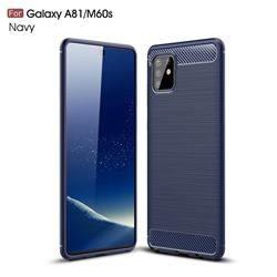 Luxury Carbon Fiber Brushed Wire Drawing Silicone TPU Back Cover for Samsung Galaxy A81 - Navy
