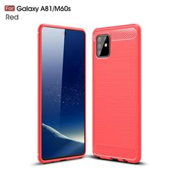 Luxury Carbon Fiber Brushed Wire Drawing Silicone TPU Back Cover for Samsung Galaxy A81 - Red