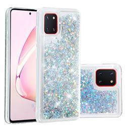 Dynamic Liquid Glitter Quicksand Sequins TPU Phone Case for Samsung Galaxy A81 - Silver