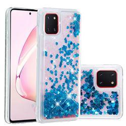 Dynamic Liquid Glitter Quicksand Sequins TPU Phone Case for Samsung Galaxy A81 - Blue
