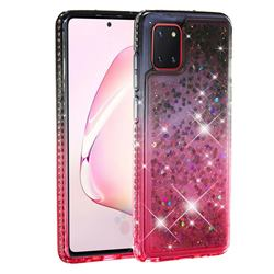 Diamond Frame Liquid Glitter Quicksand Sequins Phone Case for Samsung Galaxy A81 - Gray Pink