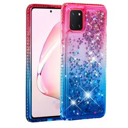 Diamond Frame Liquid Glitter Quicksand Sequins Phone Case for Samsung Galaxy A81 - Pink Blue