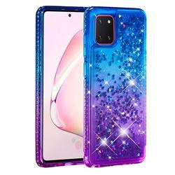 Diamond Frame Liquid Glitter Quicksand Sequins Phone Case for Samsung Galaxy A81 - Blue Purple