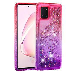Diamond Frame Liquid Glitter Quicksand Sequins Phone Case for Samsung Galaxy A81 - Pink Purple