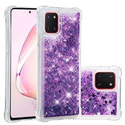 Dynamic Liquid Glitter Sand Quicksand Star TPU Case for Samsung Galaxy A81 - Purple