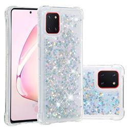 Dynamic Liquid Glitter Sand Quicksand Star TPU Case for Samsung Galaxy A81 - Silver