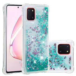 Dynamic Liquid Glitter Sand Quicksand TPU Case for Samsung Galaxy A81 - Green Love Heart
