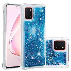 Dynamic Liquid Glitter Sand Quicksand TPU Case for Samsung Galaxy A81 - Blue Love Heart
