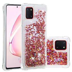 Dynamic Liquid Glitter Sand Quicksand TPU Case for Samsung Galaxy A81 - Rose Gold Love Heart