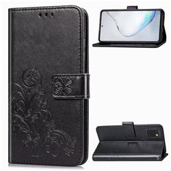 Embossing Imprint Four-Leaf Clover Leather Wallet Case for Samsung Galaxy A81 - Black