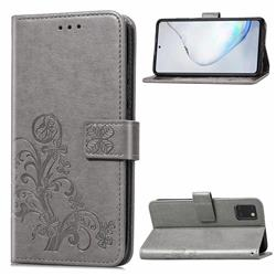 Embossing Imprint Four-Leaf Clover Leather Wallet Case for Samsung Galaxy A81 - Grey