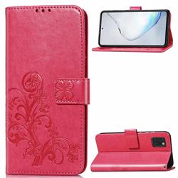 Embossing Imprint Four-Leaf Clover Leather Wallet Case for Samsung Galaxy A81 - Rose