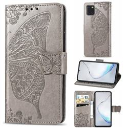 Embossing Mandala Flower Butterfly Leather Wallet Case for Samsung Galaxy A81 - Gray