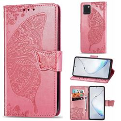 Embossing Mandala Flower Butterfly Leather Wallet Case for Samsung Galaxy A81 - Pink