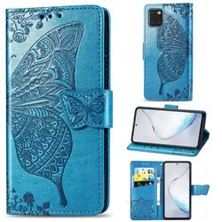 Embossing Mandala Flower Butterfly Leather Wallet Case for Samsung Galaxy A81 - Blue