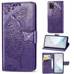 Embossing Mandala Flower Butterfly Leather Wallet Case for Samsung Galaxy A81 - Dark Purple