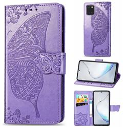 Embossing Mandala Flower Butterfly Leather Wallet Case for Samsung Galaxy A81 - Light Purple