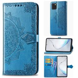 Embossing Imprint Mandala Flower Leather Wallet Case for Samsung Galaxy A81 - Blue