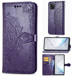 Embossing Imprint Mandala Flower Leather Wallet Case for Samsung Galaxy A81 - Purple