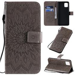 Embossing Sunflower Leather Wallet Case for Samsung Galaxy A81 - Gray