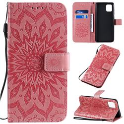 Embossing Sunflower Leather Wallet Case for Samsung Galaxy A81 - Pink