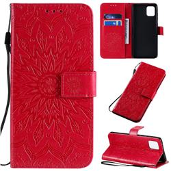 Embossing Sunflower Leather Wallet Case for Samsung Galaxy A81 - Red