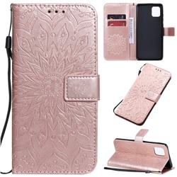 Embossing Sunflower Leather Wallet Case for Samsung Galaxy A81 - Rose Gold