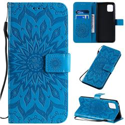 Embossing Sunflower Leather Wallet Case for Samsung Galaxy A81 - Blue