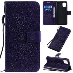 Embossing Sunflower Leather Wallet Case for Samsung Galaxy A81 - Purple