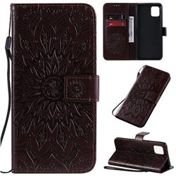 Embossing Sunflower Leather Wallet Case for Samsung Galaxy A81 - Brown