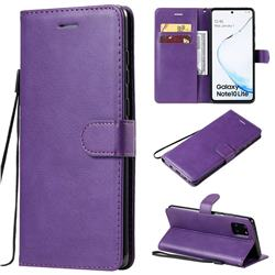 Retro Greek Classic Smooth PU Leather Wallet Phone Case for Samsung Galaxy A81 - Purple