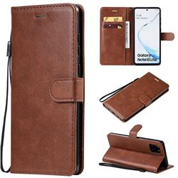 Retro Greek Classic Smooth PU Leather Wallet Phone Case for Samsung Galaxy A81 - Brown