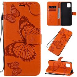 Embossing 3D Butterfly Leather Wallet Case for Samsung Galaxy A81 - Orange
