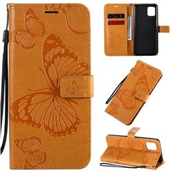 Embossing 3D Butterfly Leather Wallet Case for Samsung Galaxy A81 - Yellow