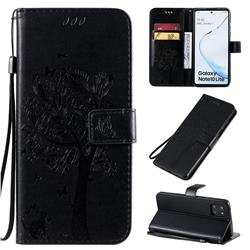 Embossing Butterfly Tree Leather Wallet Case for Samsung Galaxy A81 - Black