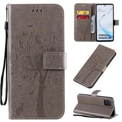 Embossing Butterfly Tree Leather Wallet Case for Samsung Galaxy A81 - Grey