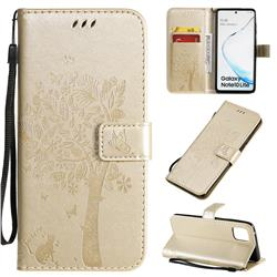 Embossing Butterfly Tree Leather Wallet Case for Samsung Galaxy A81 - Champagne