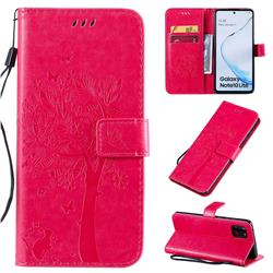 Embossing Butterfly Tree Leather Wallet Case for Samsung Galaxy A81 - Rose