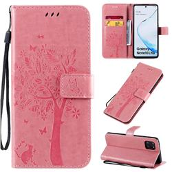 Embossing Butterfly Tree Leather Wallet Case for Samsung Galaxy A81 - Pink