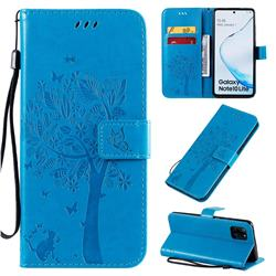Embossing Butterfly Tree Leather Wallet Case for Samsung Galaxy A81 - Blue