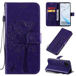 Embossing Butterfly Tree Leather Wallet Case for Samsung Galaxy A81 - Purple
