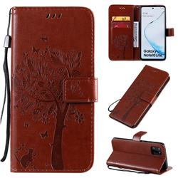 Embossing Butterfly Tree Leather Wallet Case for Samsung Galaxy A81 - Coffee