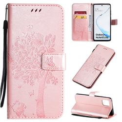 Embossing Butterfly Tree Leather Wallet Case for Samsung Galaxy A81 - Rose Pink