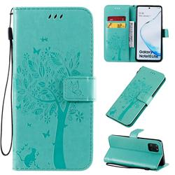 Embossing Butterfly Tree Leather Wallet Case for Samsung Galaxy A81 - Cyan